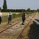 Buitenbrand langs spoor stoomtrein 's-Heer Abtskerke
