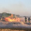 Brandweer blust brand op graanveld te Wolphaartsdijk